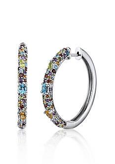 Belk & Co. Sterling Silver Multi Stone Hoop Earrings