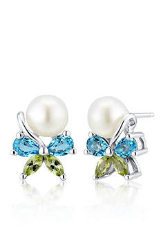 Belk & Co. Freshwater Pearl with Blue Topaz and Peridot Bow Earrings