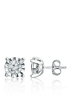 Belk & Co. 1.00 ct. t.w. Diamond set in 10K White Gold Illusion Fashion Earrings