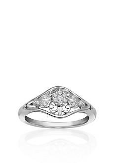 Belk & Co. Diamond Flower Promise Ring in Sterling Silver