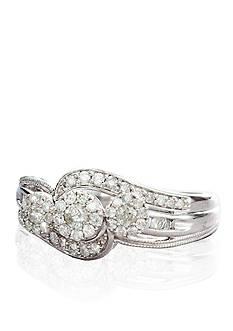 Belk & Co. Three Stone Diamond Cluster Ring in 10k White Gold