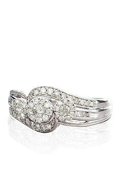 Belk & Co. Three Stone Diamond Cluster Ring in 10k White Gold