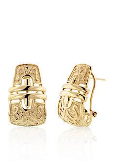 Belk & Co. 14k Yellow Gold Etruscan J Hoop Earrings