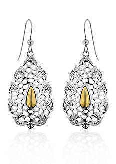Belk & Co. Sterling Silver with 14k Yellow Gold Earrings
