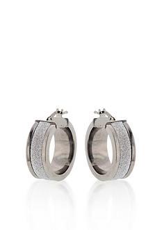 Belk & Co. Sterling Silver Small Glitter Hoop Earrings