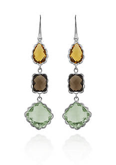 Belk & Co. Sterling Silver Citrine, Smokey Quartz, and Green Amethyst Earrings