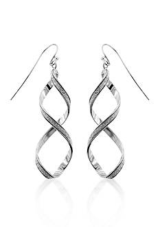 Belk & Co. Sterling Silver Twisted Sparkle Earrings