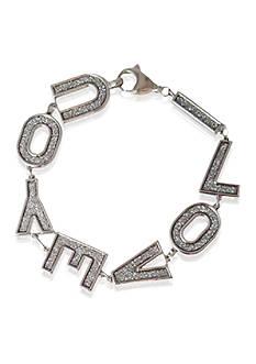 Belk & Co. Sterling Silver I Love You Glitter Bracelet
