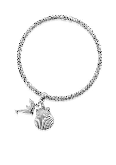 Belk & Co. Sterling Silver Hoop Seashell & Dolphin Charm Braided Bangle