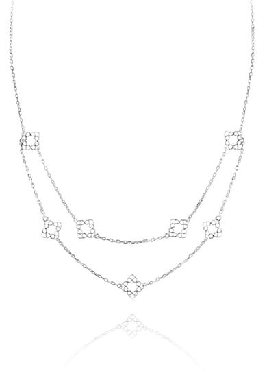 Belk & Co. Sterling Silver Double Layer Square Station Necklace