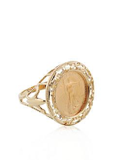 Liberty Legacy 14k Yellow Gold Greek Key Fleur-de-Lis Coin Ring