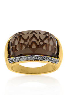 Belk & Co. 14k Yellow Gold Smokey Quartz and Diamond Ring