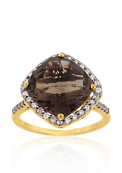 Belk co 14k yellow gold smokey quartz and diamond ring for Belk fine jewelry rings