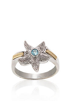 Belk & Co. Sterling Silver with 14k Yellow Gold Blue Topaz Starfish Ring