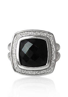 Belk & Co. Sterling Silver Onyx Sparkle Ring