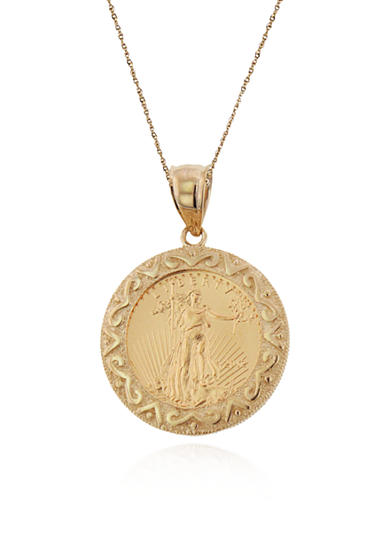 Liberty Legacy 14k Yellow Gold Eagle Coin Pendant