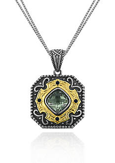 Belk & Co. Sterling Silver with 14k Yellow Gold Green Amethyst Pendant