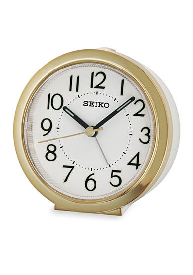 Seiko Bedside Alarm Clock with White Case and Gold Metallic Trim