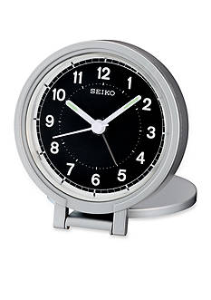 Seiko Silver-Tone Metallic Travel Alarm Clock