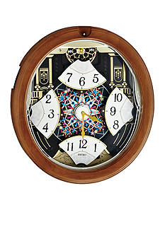 Seiko Brown Wooden Melodies in Motion Wall Clock