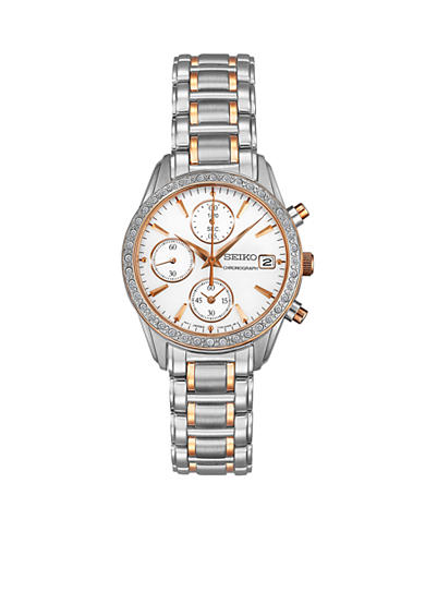 Seiko Ladies 30 Meter Silver-Tone and Rose Gold Crystal Chronograph Watch