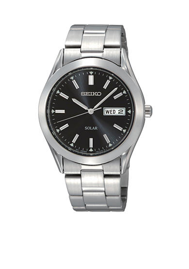 Seiko Mens Stainless Steel Solar Black Dial