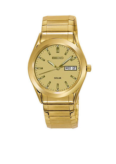 Seiko Mens Gold Tone Solar With Champagne Dial