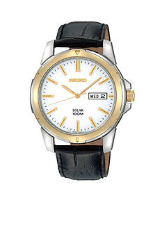 Seiko Men's 100 meter two tone solar watch with a white dial, black leather strap, hardlex crystal and buckle closure.