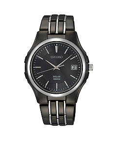 Seiko Men's 100 Meter Black Ion Finish Solar Dress Watch