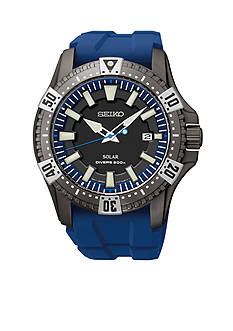 Seiko Men's 200 Meter Black Ion Finish Solar Diver Watch
