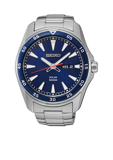Seiko Men's Blue Dial Solar Calendar Watch