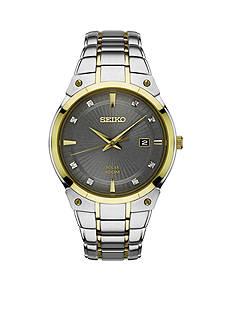 Men's Two-Tone Stainless Steel Seiko Solar Gray Dial Watch