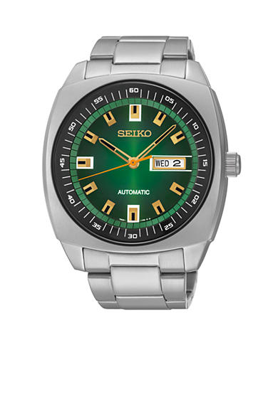 Seiko Men's Stainless Steel Silver-Tone Green Dial Automatic Watch