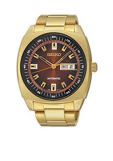 Seiko Men's Stainless Steel Gold-Tone Brown Dial Automatic Watch