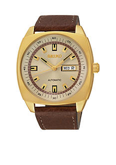 Seiko Men's Stainless Steel Gold-Tone Champagne Dial Automatic Watch