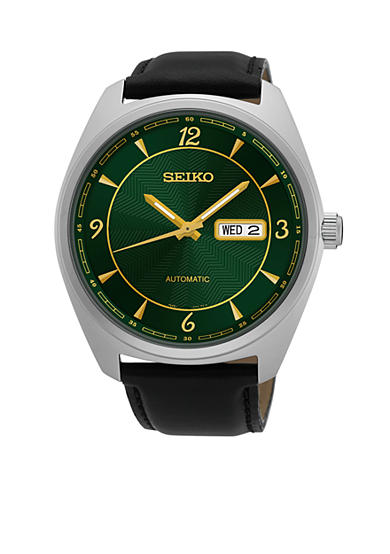Seiko Men's Recraft Stainless Steel Leather Band Watch