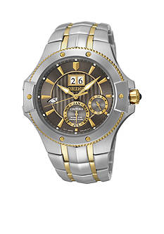 Seiko Men's Stainless Steel Two-Tone Gray Dial Kinetic Perpetual Watch