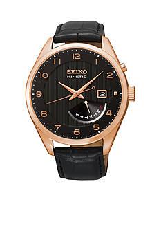 Seiko Men's Black Rose Gold Kinetic Retrograde Watch