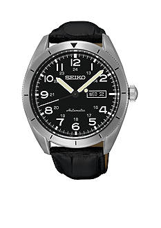 Seiko Men's Automatic Black Leather with Black Dial Watch