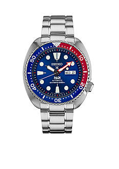 Seiko Men's Prospex Diver Silver-Tone with Blue Bezel Watch