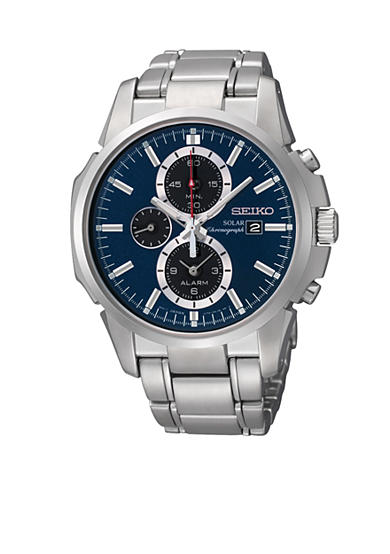 Seiko Men's 100 Meter Stainless Steel Solar Alarm Chronograph Watch