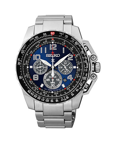 Seiko Men's Stainless Steel Silver-Tone Blue Dial Chronograph Watch