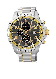 Seiko Two-Tone Solar Alarm Chronograph Watch