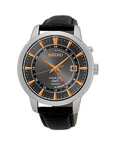 Seiko Men's Kinetic Silver-Tone Black Dial Watch