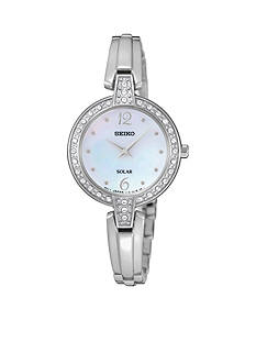 Seiko Women's Silver-Tone Solar Crystal Bezel Watch