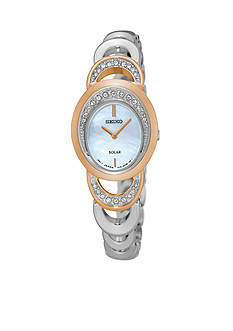Seiko Ladies Solar Two-Tone with Mother of Pearl Dial and Swarovski® Crystal Accents Watch