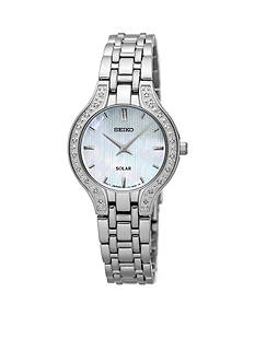 Seiko Women's Solar Silver-Tone with Diamond Accents Watch