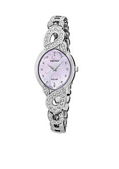Seiko Women's Solar Silver-Tone with Swarovski Crystal Accents Watch