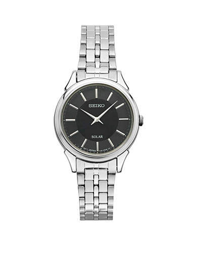 Seiko Women's Slimline Solar Silver-Tone with Black Dial Watch