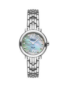 Seiko Womens Tressia Silver-Tone Stainless Steel Blue Mother-Of-Pearl Dial Watch